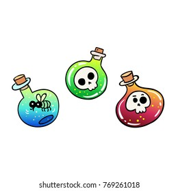 Bottles with skulls and fly inside. Good for tattoo, logo, stikers and etc. Vector illustration.