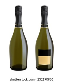 Bottles of sparkling wine, champagne, prosecco - vector drawing isolated