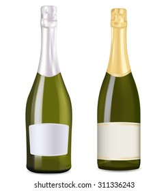 Bottles of sparkling wine, champagne, prosecco. Vector illustration isolated on white background