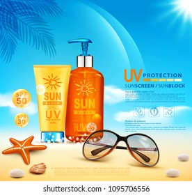Bottles with sun protection, cosmetic products. Sunblock cream and tanning oil spray bottle. Template, for magazine or ad,brochure, flyer, banner