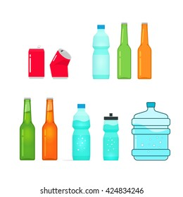 Bottles vector collection isolated on white, full and empty bottle of water, sport bottle, beer glass bottle, drink metal can, plastic bottle