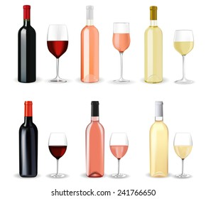 Bottles of wine with full glasses: red wine, white wine, rose wine