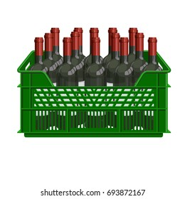 Bottles of wine in plastic crate. Vector illustration
