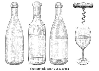 Bottles of wine set. Hand drawn sketch. Vector illustration isolated on white background