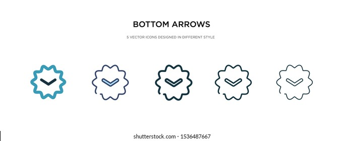 bottom arrows icon in different style vector illustration. two colored and black bottom arrows vector icons designed in filled, outline, line and stroke style can be used for web, mobile, ui