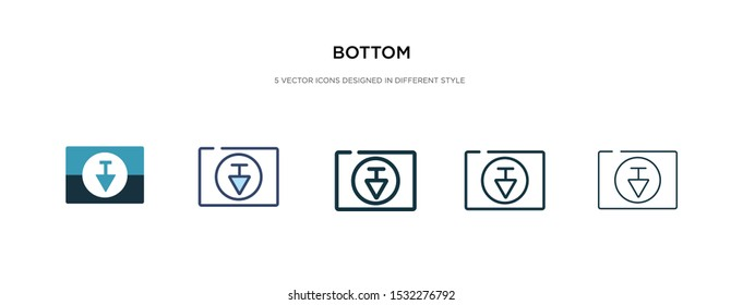bottom icon in different style vector illustration. two colored and black bottom vector icons designed in filled, outline, line and stroke style can be used for web, mobile, ui