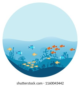 The bottom of the ocean with seaweed and fish. Sea underwater background with different fish. Marine scene with algae and corals. Flat design, vector illustration, vector.