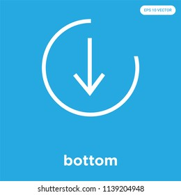 bottom vector icon isolated on blue background, sign and symbol, bottom icons collection