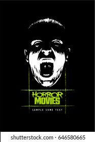 Bottom-lit face, screaming face, horror movie style vector logo.
