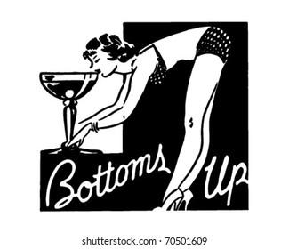 Bottoms Up - Retro Ad Art Banner