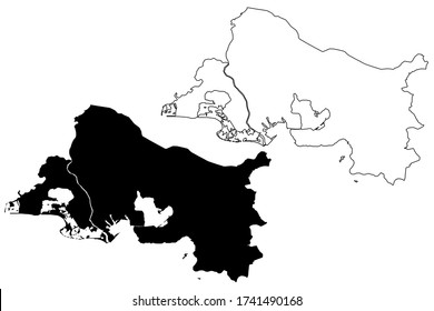 Bouches-du-Rhone Department (France, French Republic, Provence-Alpes-Cote dAzur region) map vector illustration, scribble sketch Bouches-du-Rhone map