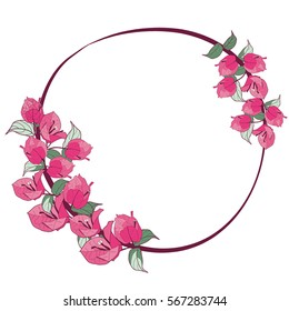 bougainvillea flower on circle frame