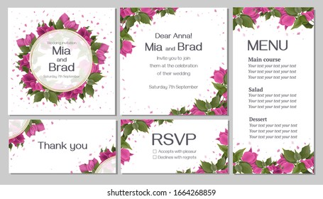 Bougainvillea flowers, green leaves and petals. Golden frame. Bright design for your wedding invitation.  Invitation card, thanks, rsvp, menu.