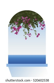 Bougainvillea flowers. Sea view through a window. Vector Illustration.