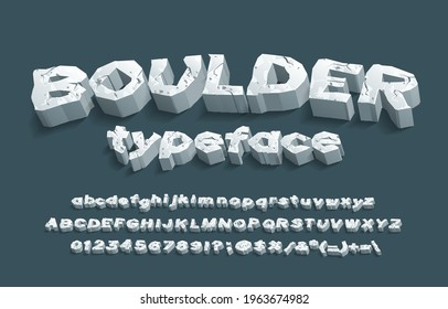 Boulder alphabet font. 3D cracked stone letters, numbers and punctuation. Uppercase and lowercase. Stock vector typescript for your typography design.
