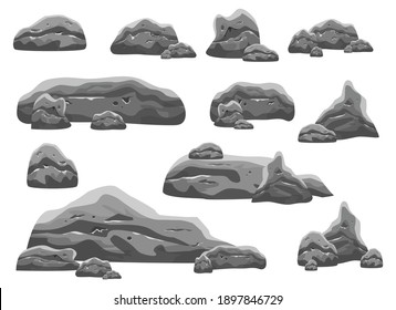 Boulder stones vector design illustration isolated on white background. Game assets