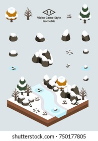 Boulders, rocks, and cave set for video game-type isometric first-snow after autumn forest scene..