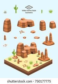 Boulders, rocks, and rock formations set for video game-type isometric American desert scene.