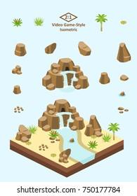 Boulders, rocks, and waterfall set for video game-type isometric Saharan/Arabian desert scene.