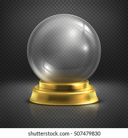 Boule, glass empty magic ball, snow globe vector illustration. Ball glossy realistic transparent