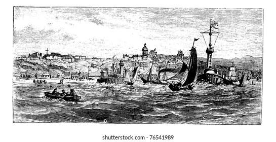 Boulogne-sur-Mer, city, France vintage engraving. Old engraved illustration of ships on the sea nearBoulogne-sur-Mer, France, in the 1890s. Trousset Encyclopedia