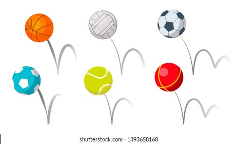 Bounce Balls Sport Playing Equipment Set Vector. Basketball And Soccer Or Football, Volleyball And Tennis Game Accessories Bounce With Trajectory Grey Line. Colorful Flat Cartoon Illustration