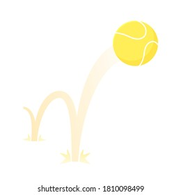 Bouncing big tennis game ball flat style design vector illustration icon sign isolated on white background. Inflatable round tennis game symbol jumps on the ground.