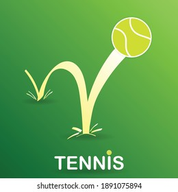 Bouncing tennis ball on green background , Vector Illustration EPS 10