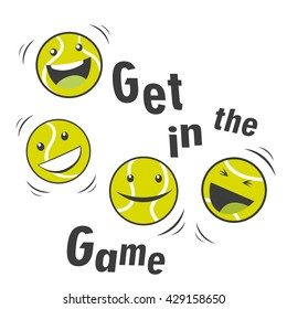 Bouncing Tennis Balls And Text Get In The Game. Cartoon Vector Character. Sports Tennis Theme. Tennis Mascot.