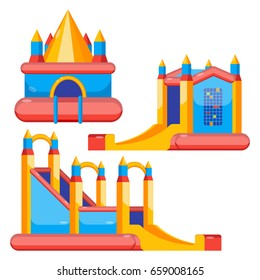 Bouncy castles for kids colorful set isolated on white