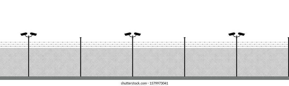 Boundary barbed wires silhouette. The silhouette objects and background are in different layers.
