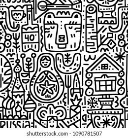 Boundless pattern with well-known Russian symbols - matrioshka, bear, izba, samovar, etc. Vector design. Doodle style.