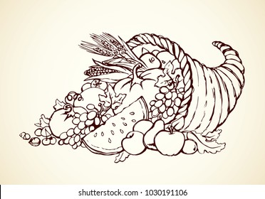 Bounty wicker produce heap on white paper background. Outline black ink hand drawn rich farm feast day concept logo emblem decor sketch in ancient art doodle cartoon graphic style with space for text