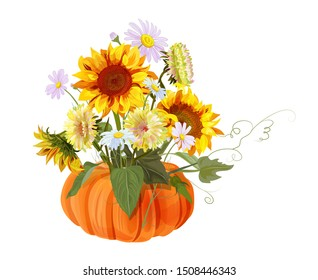 Bouquet autumn flowers: pumpkin, yellow sunflowers, orange gerbera, chamomile (daisy) flower, white asters on white background. Digital draw, illustration in watercolor style for Thanksgiving, vector