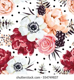 Bouquet with blackberries on the white background with dots. Vector seamless pattern with garden flowers. Peony, rose, ranunculus.