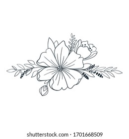 Bouquet with blooming flowers. Outline illustration with blossom meadow flowers. Vector elements for wedding, invitation, template, card, stamp.