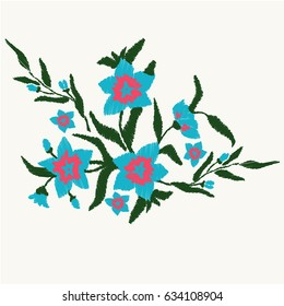 Bouquet of blue flowers.  Nature flowers embroidery patch vector decoration.