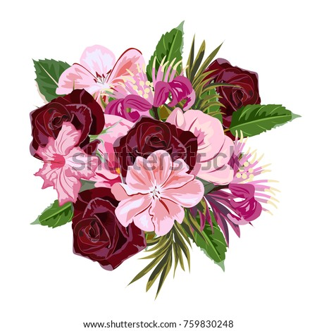 Bouquet burgundy roses cute pink flowers stock vector royalty free bouquet of burgundy roses and cute pink flowers decor elements for greeting cards wedding mightylinksfo