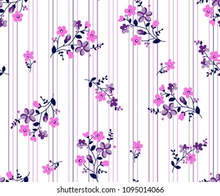 Bouquet colorful flowers with vertical lines background for textile pattern,fashion print