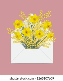 Bouquet of daffodils and mimosa in the postal envelope. Spring yellow flowers. Flower delivery concept. Floral composition. Vector illustration on a pink background