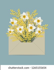 Bouquet of daffodils and mimosa in the postal envelope. Spring flowers. Flower delivery concept. Floral composition. Vector illustration on a blue background