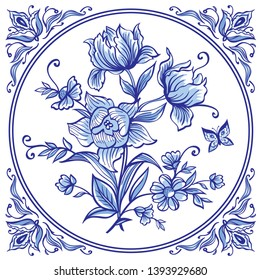 A bouquet of decorative flowers, tiles in blue colors in the Dutch style. List Delft, Gzhel, English porcelain.