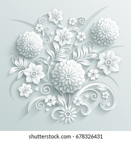 Bouquet of decorative white paper flowers made in 3d style