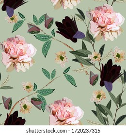 Bouquet of delicate pink and purple flowers and leaves on a light sage green color background. Seamless floral vector pattern. Square repeating design for fabric and wallpaper.