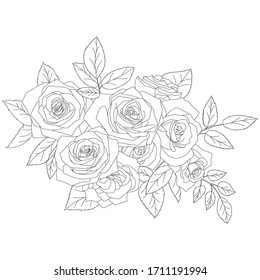 Bouquet of different flowers and branches. Floral background. Hand-drawn vector illustration.