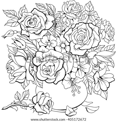 Bouquet Different Flowers Coloring Page Stock Vector ...