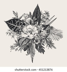 Bouquet of exotic flowers. Vintage vector illustration. Black and white