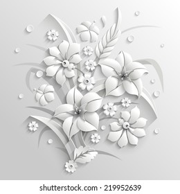 Bouquet of fantastic white flowers made in 3d style