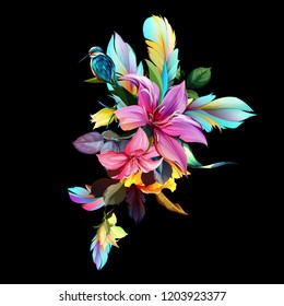 Bouquet floral illustration. Wild flowers with bird halcyon and feathers around. Abstract hand drawn drawing. Isolated on black. Vector - stock.