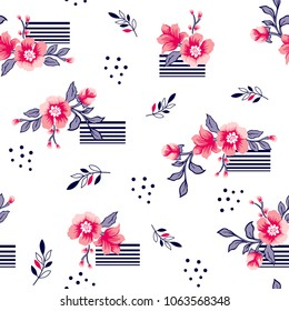 Bouquet flower pattern on striped lines for fashion print,textile pattern